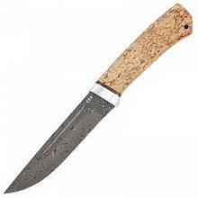 Ніж А&Р Бекас, дамаська сталь, рукоять карел. береза (довжина:26.0 см, лезо: 13.5 см), піхви шкіра