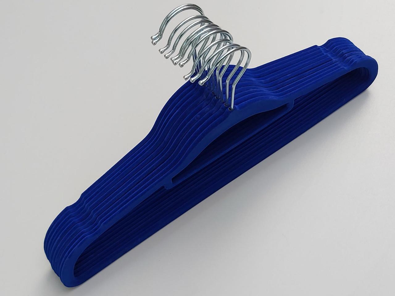 Довжина 41,5 см. Плічка флоковані (оксамитові) синього кольору, 10 штук в упаковці