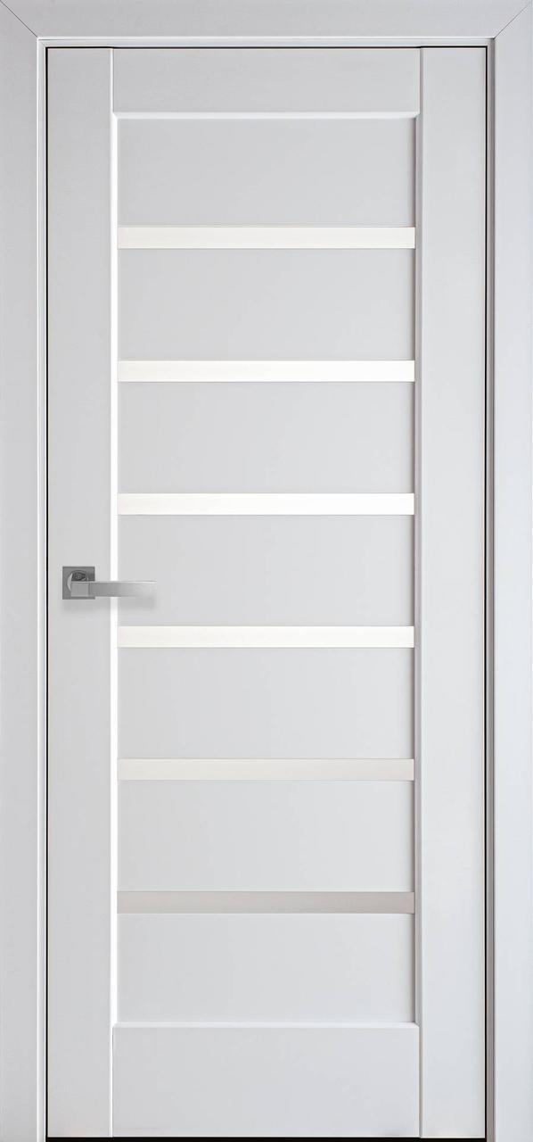 Двери межкомнатные Новый Стиль Линнеа стекло сатин ПВХ 2000х700 Белые