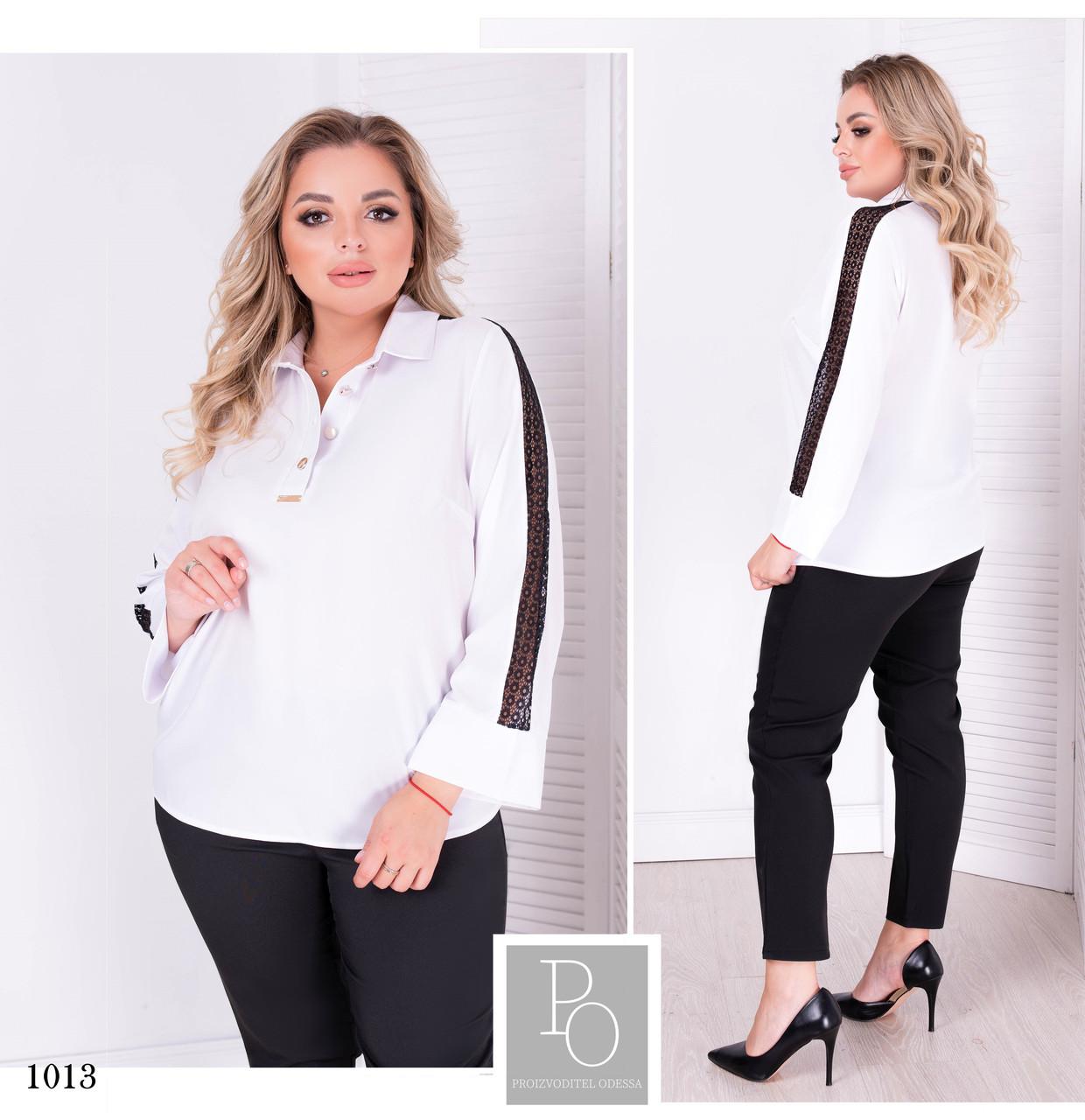 Блуза с воротом софт 50,52,54,56,58,60