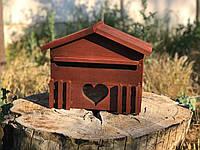 Деревянный декоративный почтовый ящик из натурального дерева