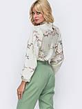 Принтованная блузка с воротником стойка и длинным рукавом, фото 5