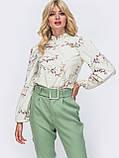 Принтованная блузка с воротником стойка и длинным рукавом, фото 4