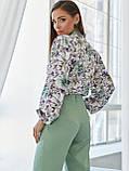 Принтованная блузка с воротником стойка и длинным рукавом, фото 3