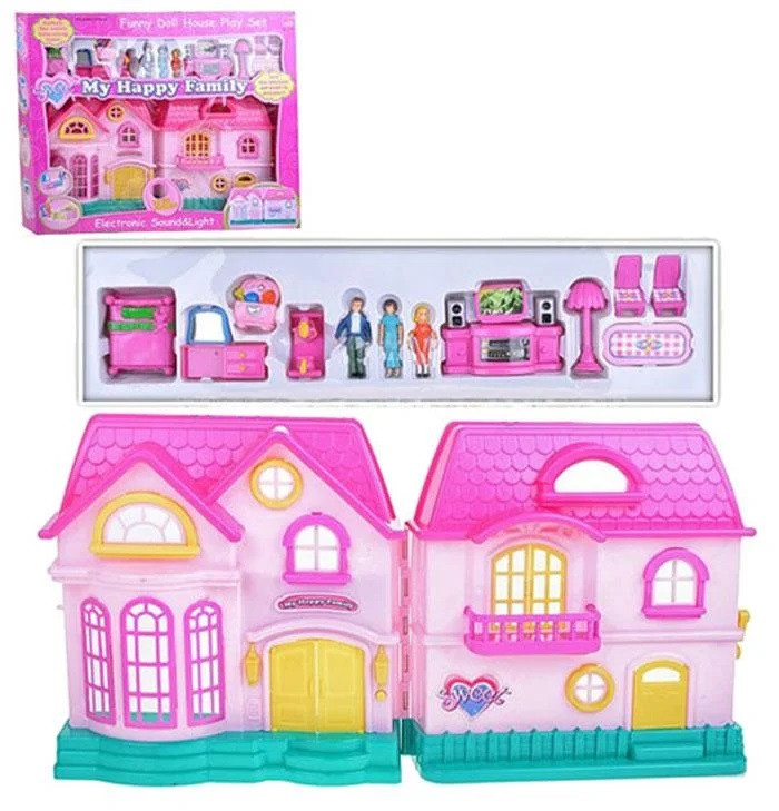 Ляльковий будиночок розкладний з ляльками і меблями арт.16526