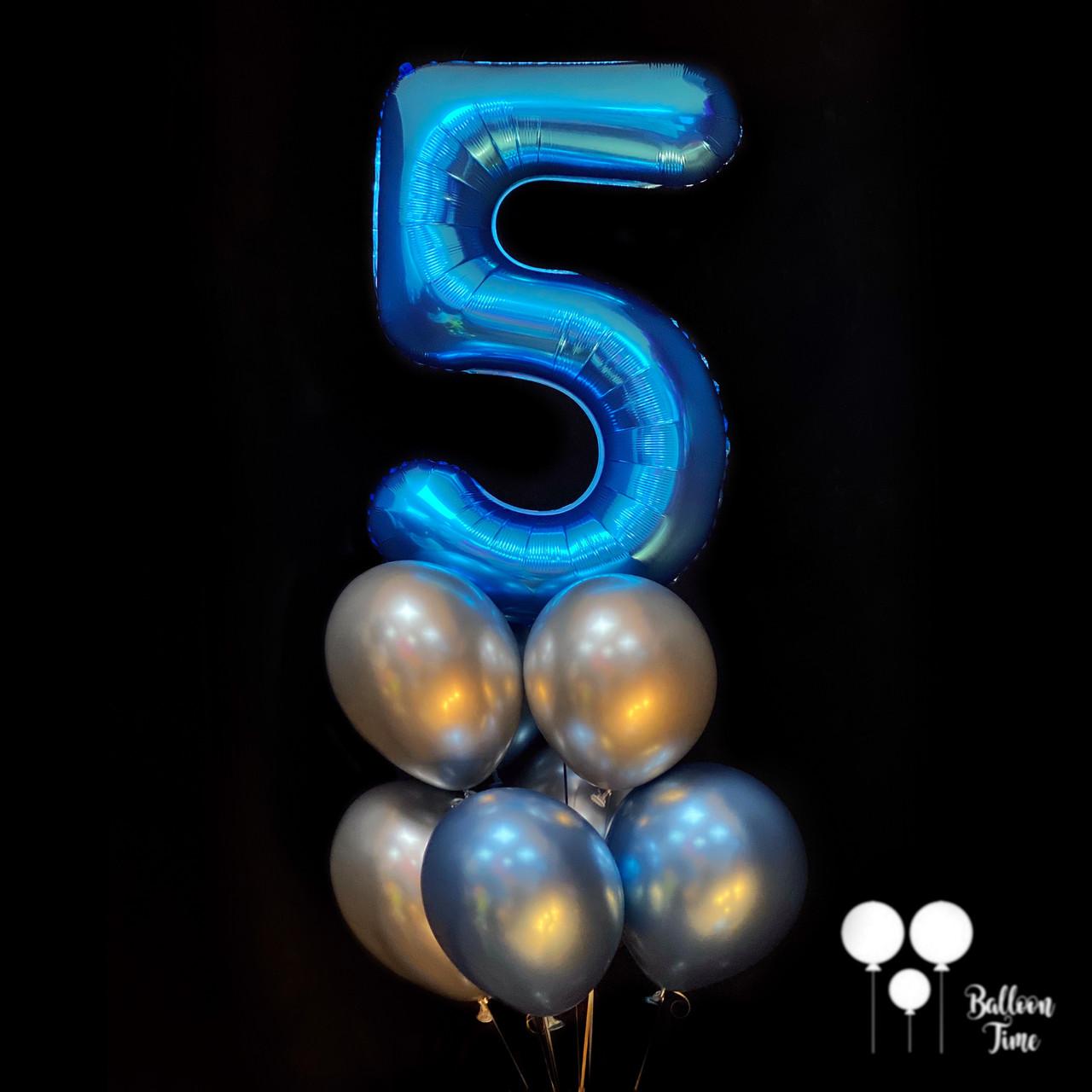 Фонтан из хром шаров  с цифрой 5 для мальчика