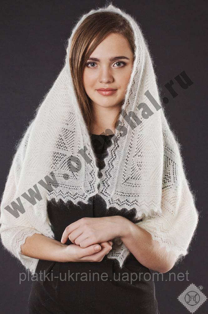 Оренбургский пуховый платок 100х100 см. Белый и серый.