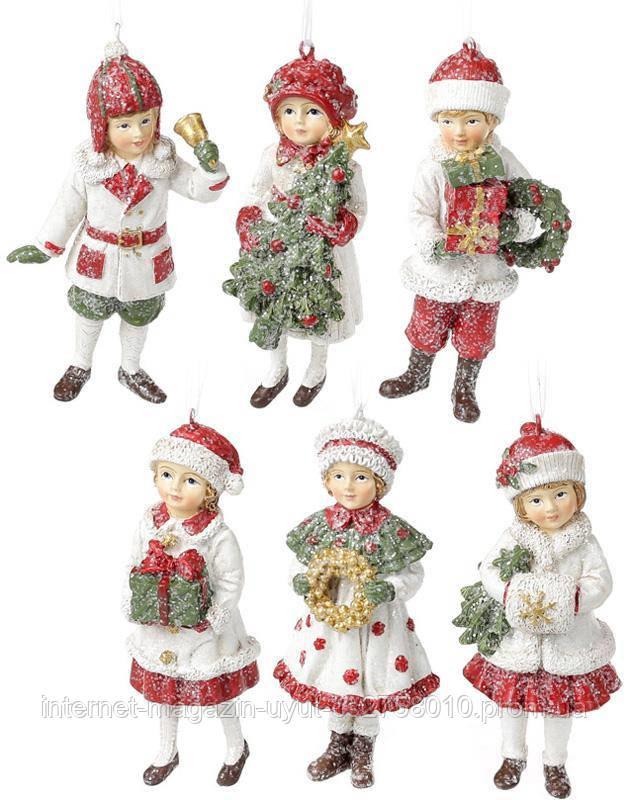"""Набор 6 подвесных фигурок """"Дети в ожидании Нового Года"""" 12см, красный"""