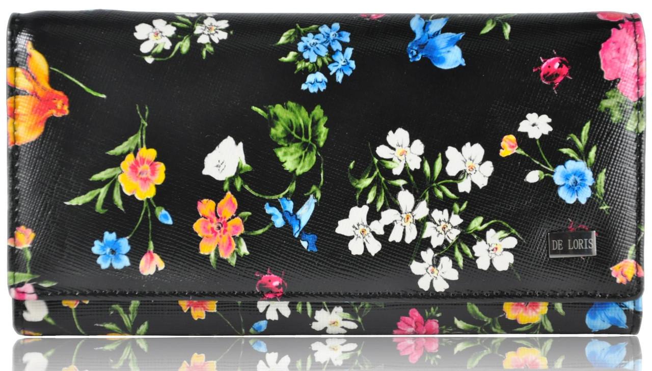 Женский кожаный кошелек 2030-D97 Safyan цветы черный
