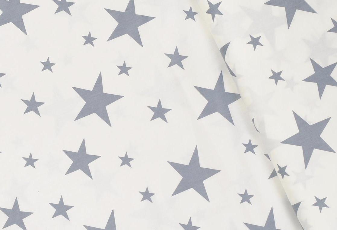 Сатин-твил Звёзды серые на белом