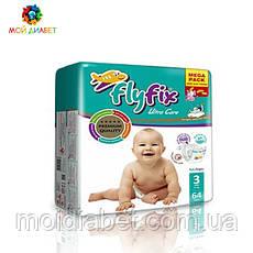 Памперси для дітей Fly Fix 3, 4-9 кг 64 шт.