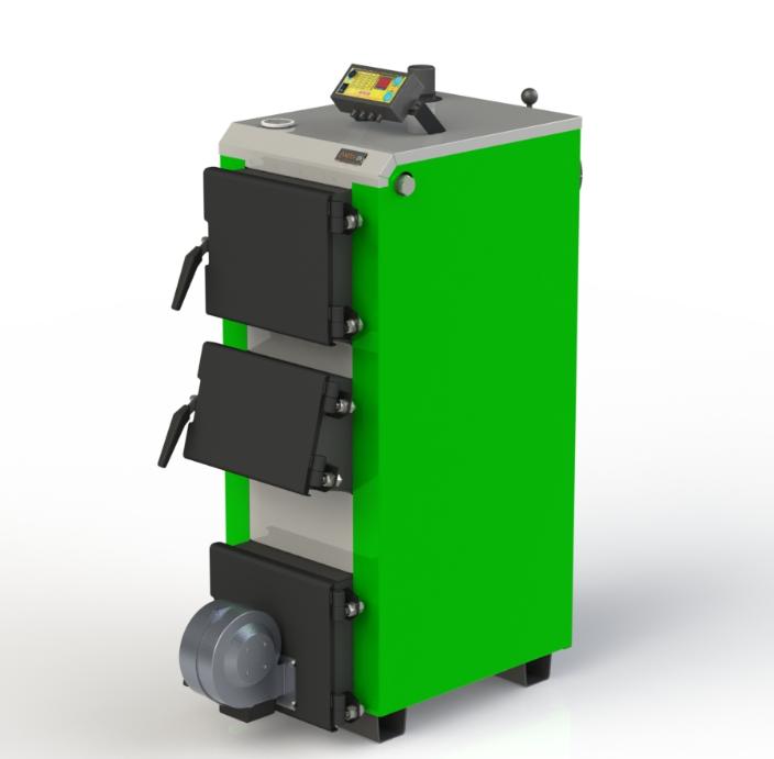Котел твердопаливний побутової Kotlant КО-14 кВт-3Д з електронною автоматикою та вентилятором