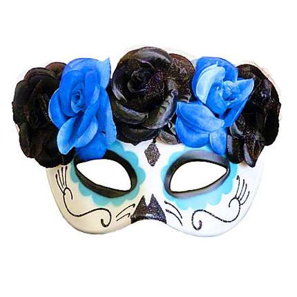 Маска Санта Муэрте (День мертвих) ABC синя, фото 2