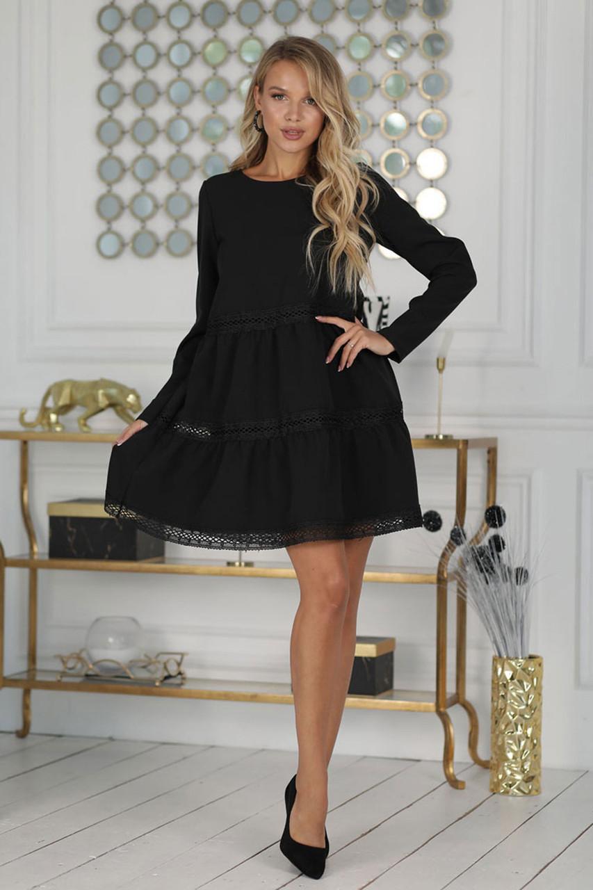 Короткое черное расклешенное Платье