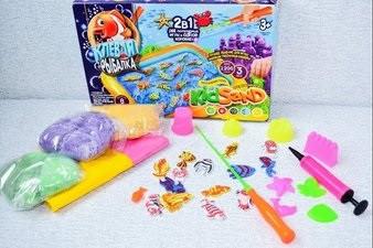 Детская игра с кинетическим песком + рыбалка
