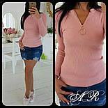 Жіночий стильний рожевий джемпер гольф/кофточка з блискавкою попереду, фото 3