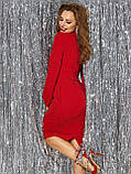 Вечернее блестящее платье приталенное с длинным рукавом на манжете и поясом в комплекте, фото 3