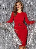 Вечірній блискуче приталене плаття з довгим рукавом на манжеті і поясом в комплекті, фото 4