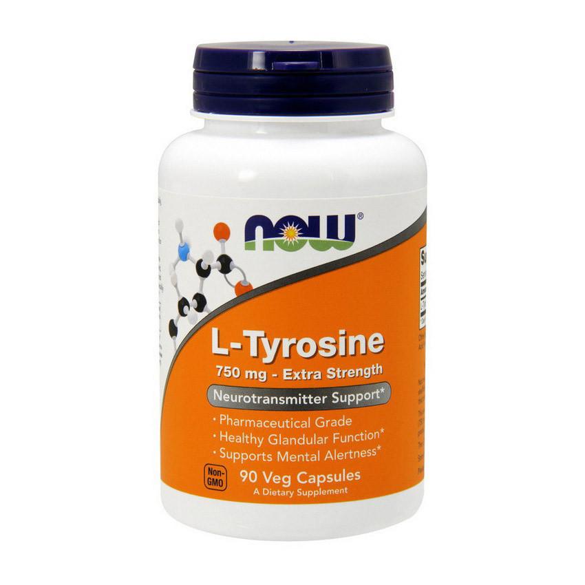 Тирозин NOW L-Амінокислоти 750 mg (90 caps)