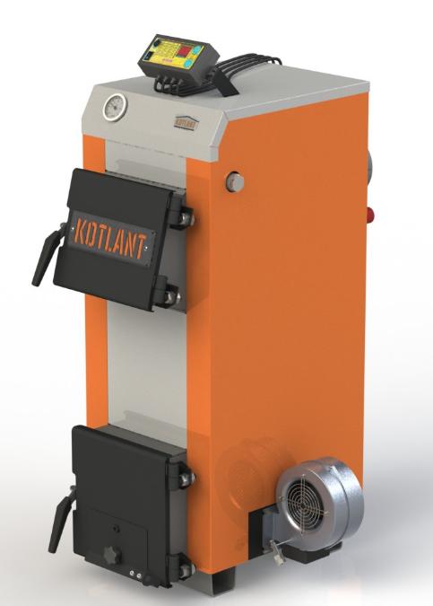 Твердотопливный котел с наклонной загрузкой Kotlant КН-12,5 с электронной автоматикой и вентилятором