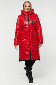 Женская длинная лаковая зимняя куртка батал