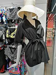 Халат жіночий коротенький чорного кольору. S. M.