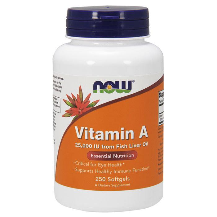 Витамин А NOW Vitamin A 25,000 IU Fish Liver Oil 250 softgels
