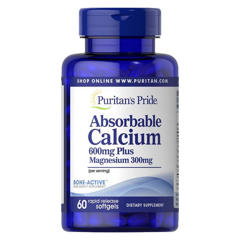 Кальций и магний Puritan's Pride Absorbable Calcium 600 mg Plus Magnesium 300 mg 60 softgels