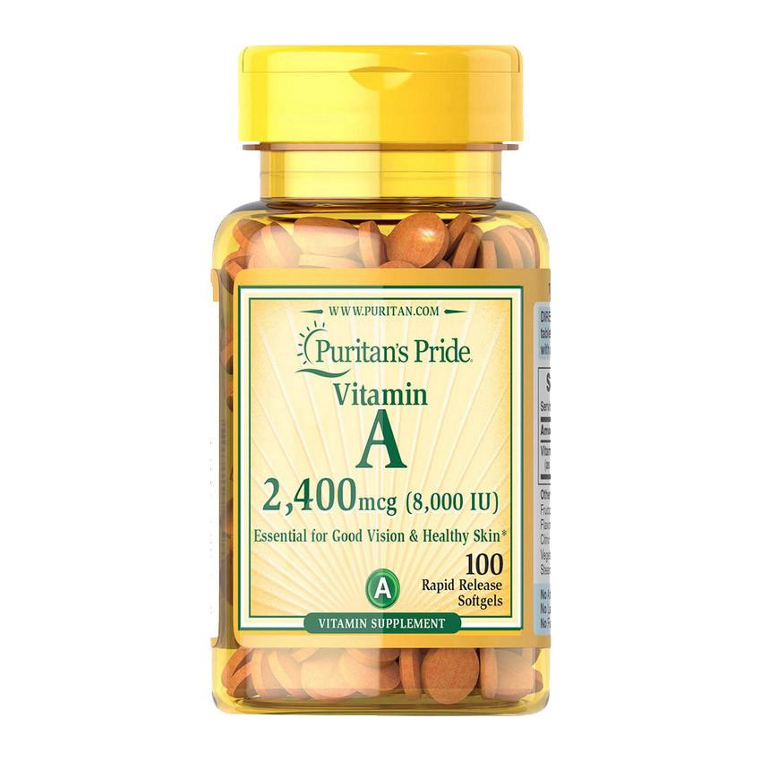 Витамин А Puritan's Pride Vitamin A 2400 mcg 100 softgels