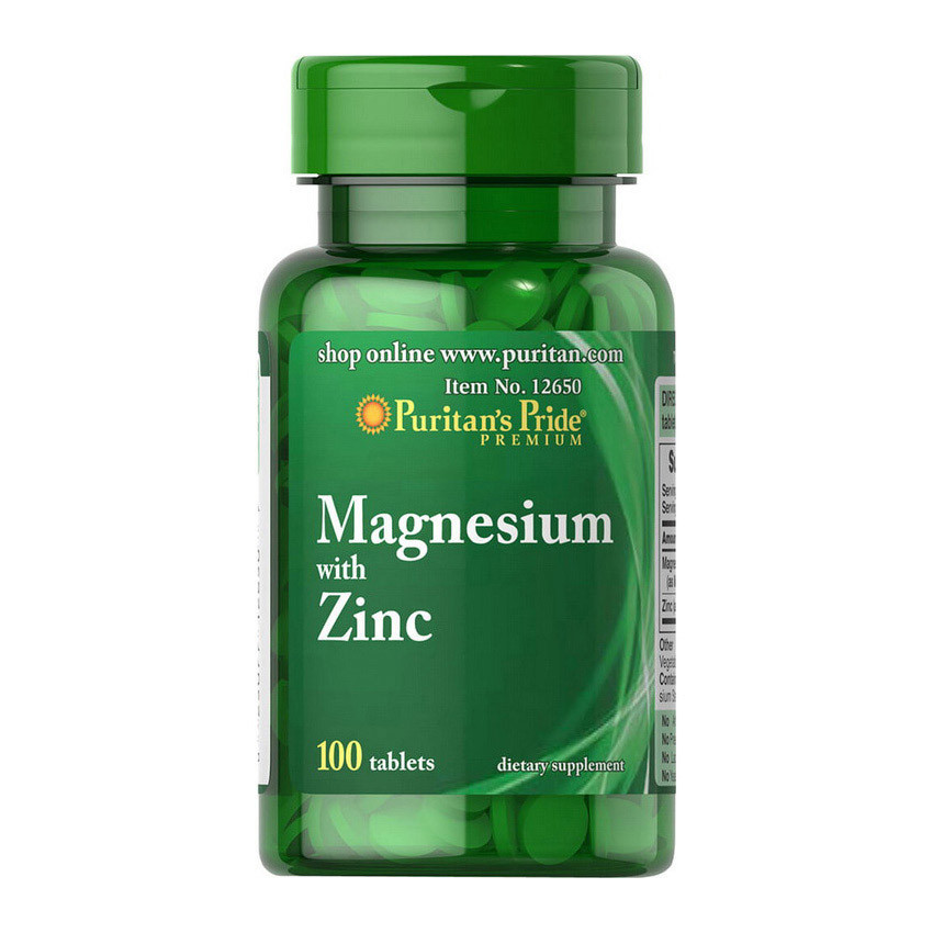 Магний-цинк Puritan's Pride Magnesium with Zinc 100 tablets