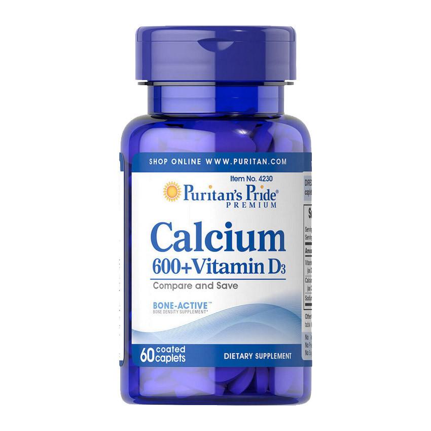 Кальцій + Вітамін D3 Puritan's Pride Calcium 600+ Vitamin D3 60 caplets