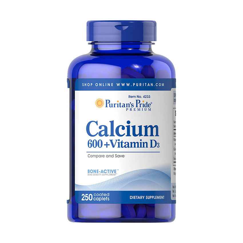 Кальцій Puritan's Pride Calcium 600+ Vitamin D3 250 caplets