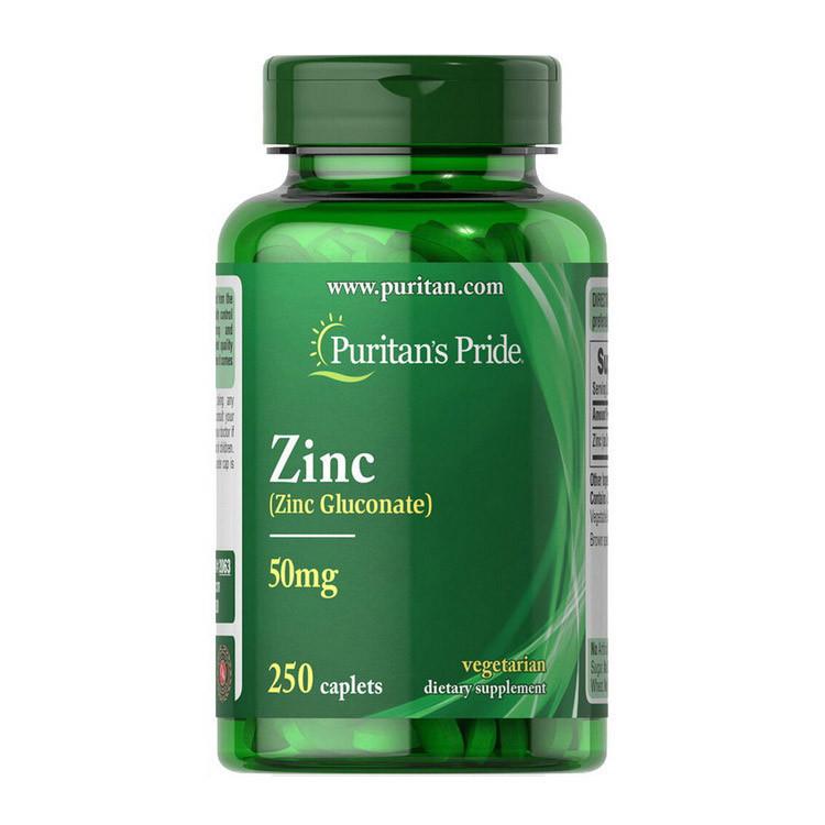 Цинк глюконат Puritan's Pride Zinc Gluconate 50 mg 250 caplets
