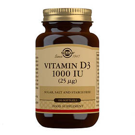 Витамин D3 холекальциферол Solgar Vitamin D3 1000 IU 100 softgels солгар