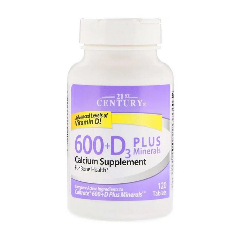 Витамины и минералы 21st Century 600+D3 Plus Minerals 120 tabs