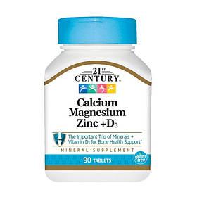 Кальций магний цинк 21st Century Calcium Magnesium Zinc + D3 90 tabs