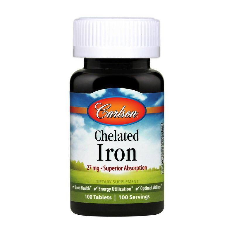 Залізо Carlson Labs Chelated Iron 27 mg 100 tabs глицинат хелат