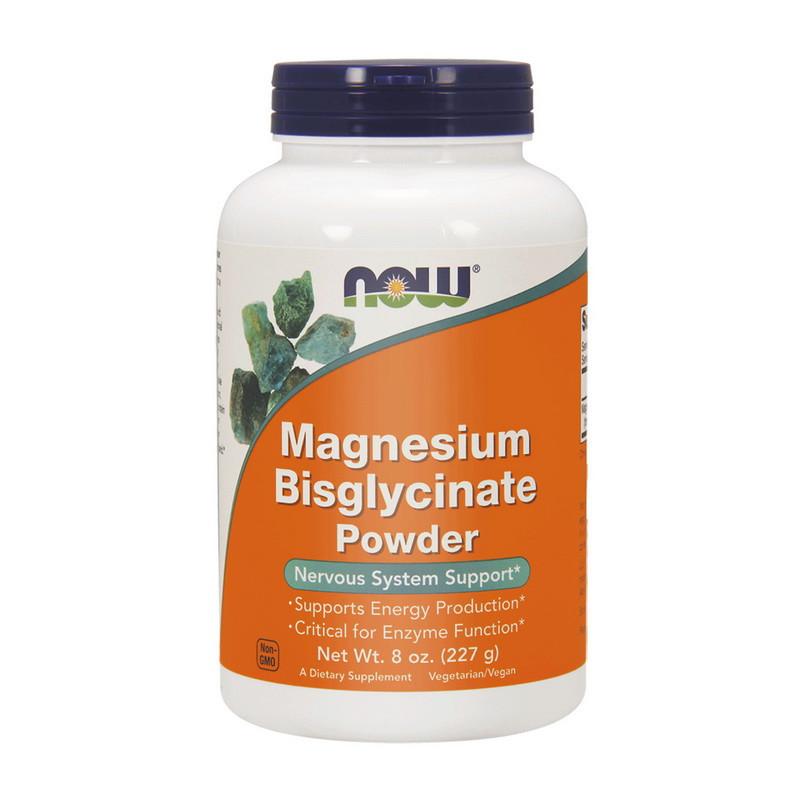 Восполнение дефицита магния NOW Magnesium Bisglycinate Powder 227 g pure