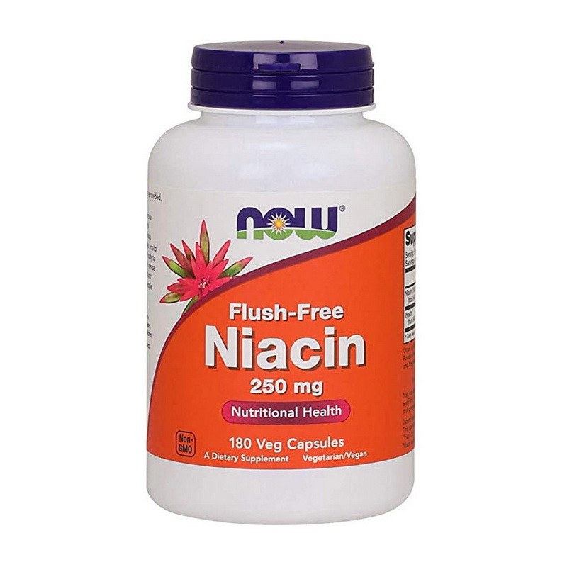 Ниацин NOW Flush-Free Niacin 250 mg 180 vcaps