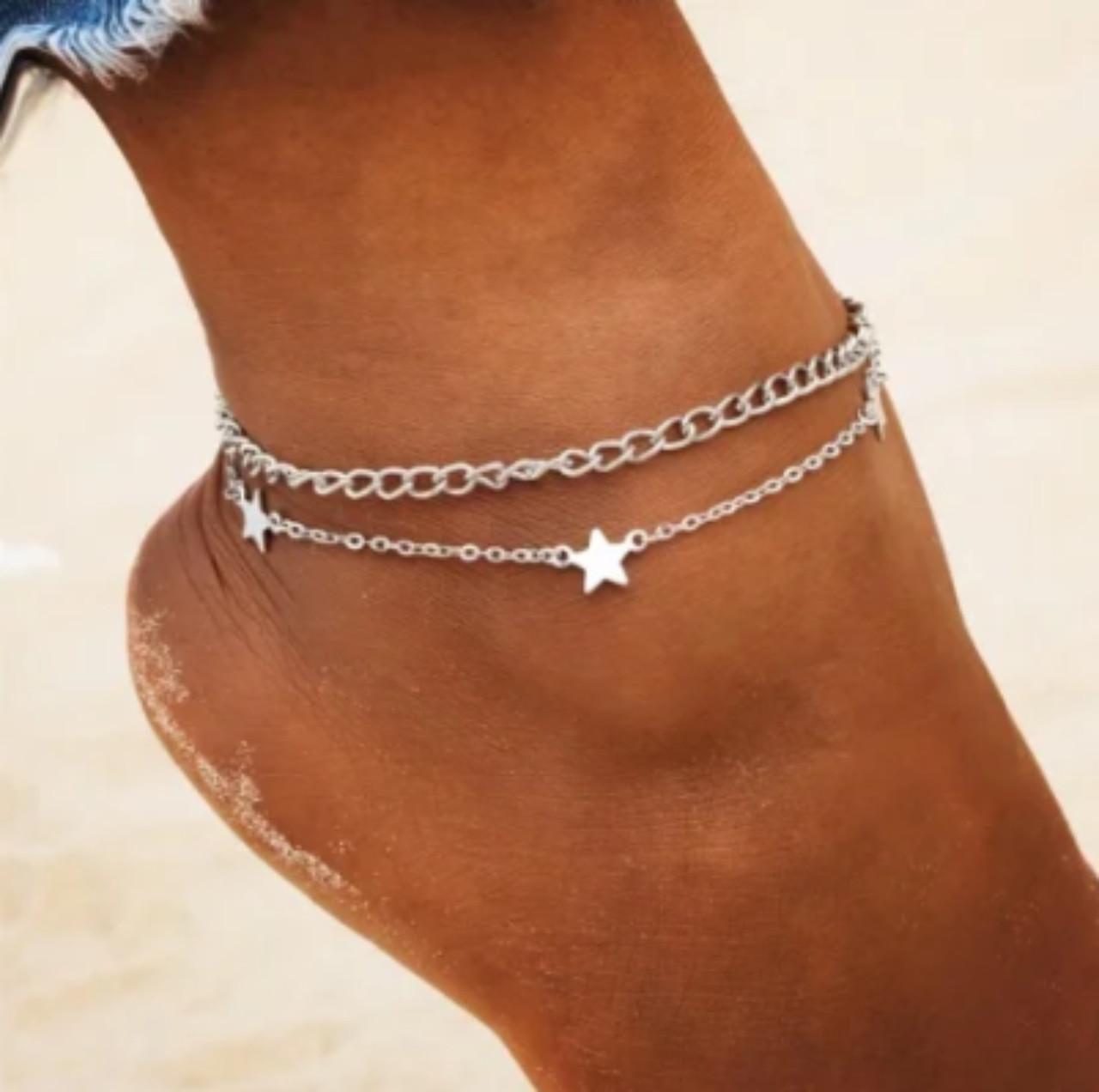 Ланцюжок браслет на ногу подвійної Зірки