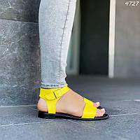 36 р. Босоножки женские желтые кожаные на низком ходу плоской подошве из натуральной кожи желтого цвета