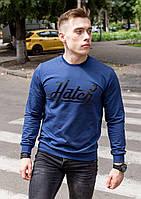 Реглан, світшот, батник чоловічий Hector з написом синій, фото 1