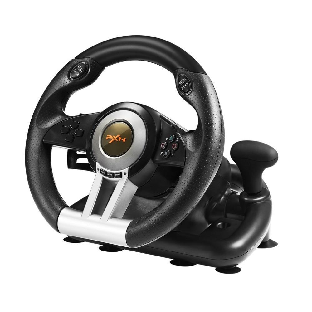Геймерский руль с педалями и коробкой передач USB для гонок PXN V3II для ПК  на присосках