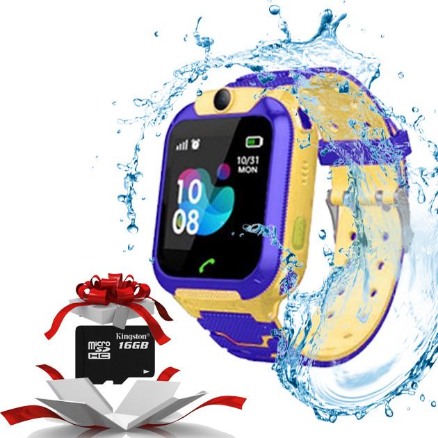 Детские умные  часы  Baby watch TD07S GPS + камера Желтый + карта памяти  16Gb