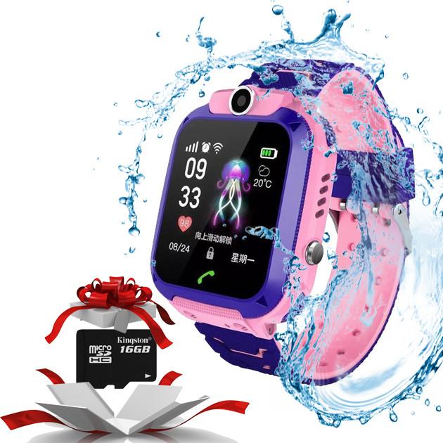 Детские Умные часы KID Watch S12 GPS с влагозащитой  Розовые + Карта памяти 16GB