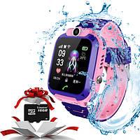 Детские Умные часы KID Watch S12 GPS с влагозащитой  Розовые + Карта памяти 16GB, фото 1