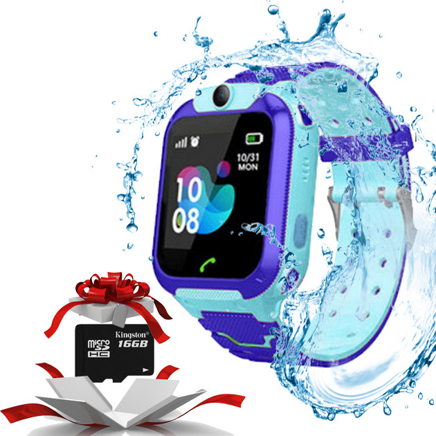 Детские умные смарт часы c GPS Smart baby watch TD07S + камера Голубой + карта памяти micro KINGSTON 16Gb