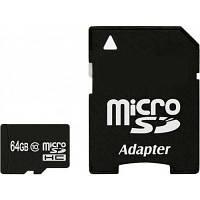 Карта памяти eXceleram 64Gb microSDHC class 10 с адаптером SD (MSD6410A)
