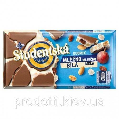 Шоколад Studentska молочно-білий з родзинками, мармеладом, 180 г