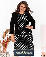 Стильное платье с жакетом большого размера,темно-синее 54,56,58,60,